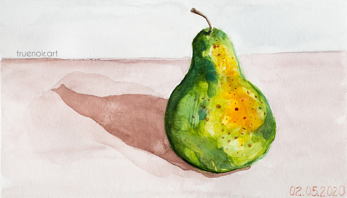Green Pear by Oksana Ossipov 5.5 x 8.5 in, Canson 138 lb paper, Watercolor