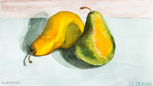 Pair of Pears by Oksana Ossipov 5.5 x 8.5 in, Canson 138 lb paper, Watercolor