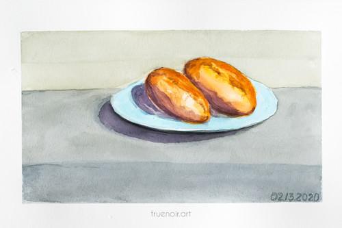Pyrogies by Oksana Ossipov 5.5 x 8.5 in, Canson 138 lb paper, Watercolor