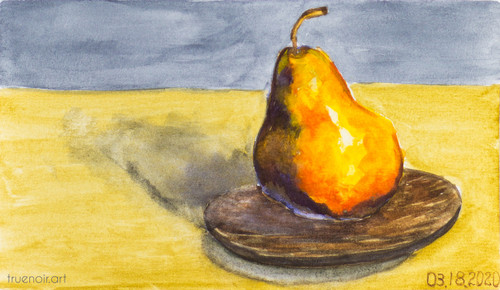 Juicy Pear by Oksana Ossipov 5.5 x 8.5 in, Canson 138 lb paper, Watercolor