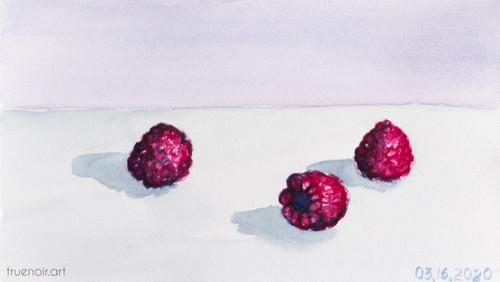 Three Raspberries by Oksana Ossipov 5.5 x 8.5 in, Canson 138 lb paper, Watercolor