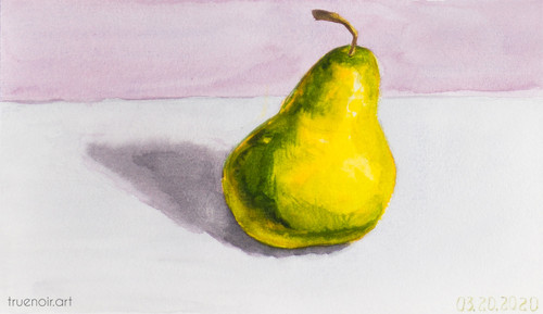 Single Pear by Oksana Ossipov 5.5 x 8.5 in, Canson 138 lb paper, Watercolor