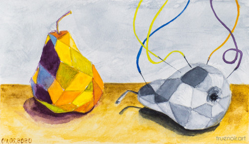 Geometric Life of Pear by Oksana Ossipov 5.5 x 8.5 in, Canson 138 lb paper, Watercolor