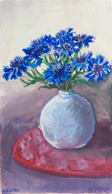 Texan Cornflowers by Oksana Ossipov 5.5 x 8.5 in, Canson 138 lb paper, Gouache