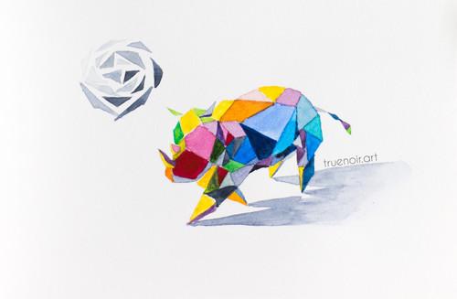 Rhino Soccer Player by Oksana Ossipov 5.5 x 8.5 in, Canson 138 lb paper, Watercolor