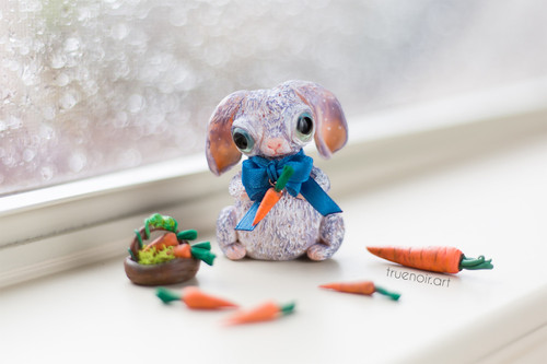 Bunny with Carrots, polymer clay figurine