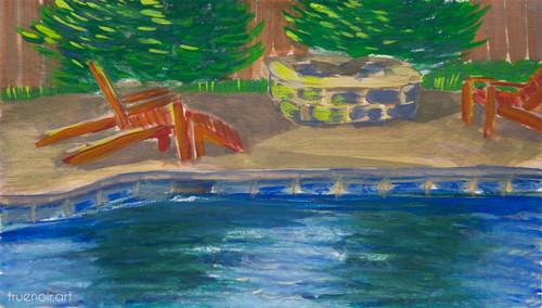 Quiet Day in July by Oksana Ossipov 5.5 x 8.5 in, Canson 138 lb paper, Gouache