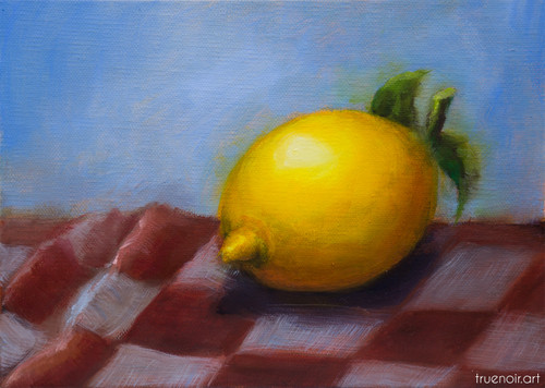 Lemon on the Checkered Tablecloth by Oksana Ossipov 5 x 7 in, Oil on linen panel