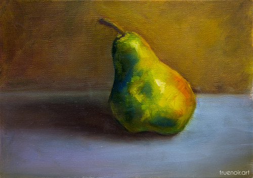 The Pear by Oksana Ossipov 5 x 7 in, Oil on linen panel. Full view.