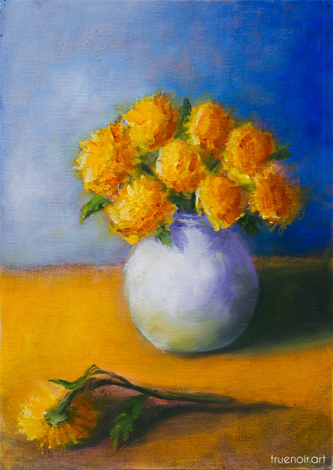 Bouquet of Mums in a Vase by Oksana Ossipov 7 x 5 in, Oil on linen panel
