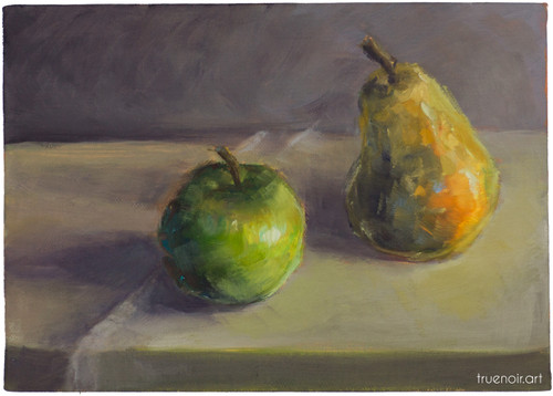 Apple and Pear on the Table by artist Oksana Ossipov, full view Original oil painting, 5 by 7 inch, Oil on linen panel