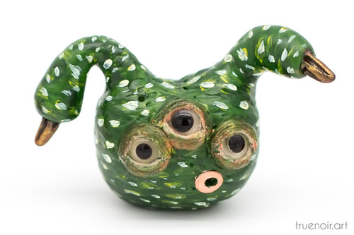 Green Alien Swan Gourd by Oksana Ossipov. Polymer clay figurine, 1.5 inch tall. Front view.