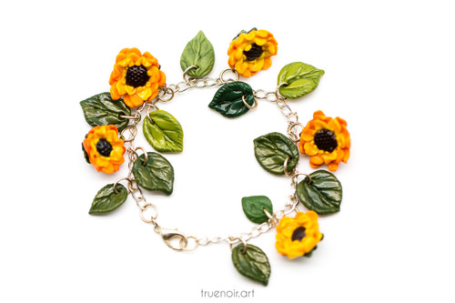 Sunflower Charm Bracelet, original jewelry by Oksana Ossipov