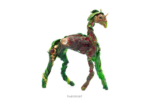 """Forest Guardian by Oksana Ossipov Polymer Clay Sculpture, 6"""", dark red side view"""