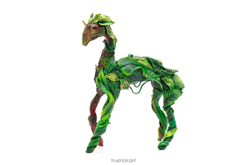"""Forest Guardian by Oksana Ossipov Polymer Clay Sculpture, 6"""", green side view"""