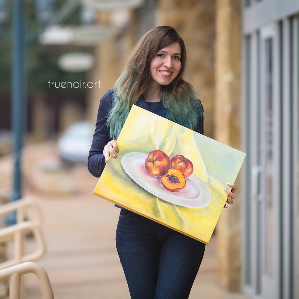 Oksana and her Two and a Half Peaches original painting