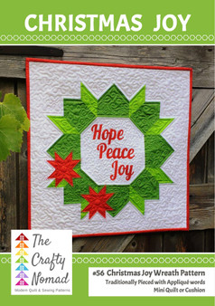 Christmas Joy Wreath Mini Quilt and Cushion Pattern by The Crafty Nomad