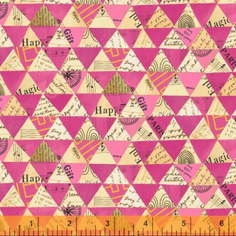 Collaged Triangles Hot Pink from the Wish collection by Windham Fabrics. 100% Cotton Fabric