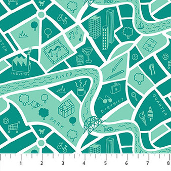 Road Map Aqua - American Road Trip - Figo Fabrics, 100% Cotton Fabric