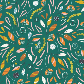 Swirling Leaves Green from the Hanging Around collection by Dashwood Studio. 100% Cotton Fabric