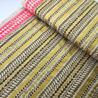 Gold Stripes from the Fabric Caravan collection by Kokka. Japanese Cotton/Linen Canvas.
