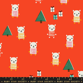 Meowy Christmas Ruby from the Flurry collection by Ruby Star Society. 100% Lightweight Cotton