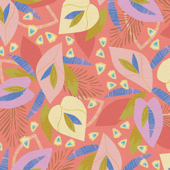 Botany Coral from the Lisbon Love collection by PBS Fabrics. 100% Cotton Fabric