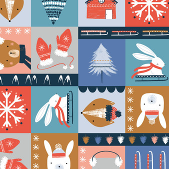 Festive Fun Multi from the Snow Much Fun collection by Dashwood Studio. 100% Cotton Fabric