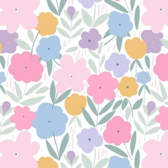 Spring Flowers White from the Music Box collection by Dear Stella. 100% Cotton Fabric