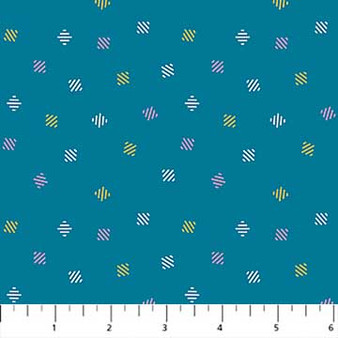 Diamonds Teal from the Retro Rove collection by Figo Fabrics. 100% Cotton Fabric