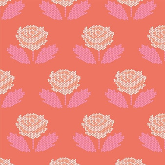 Stitch Coral from the New Dawn collection by Riley Blake Designs. 100% Lightweight Cotton