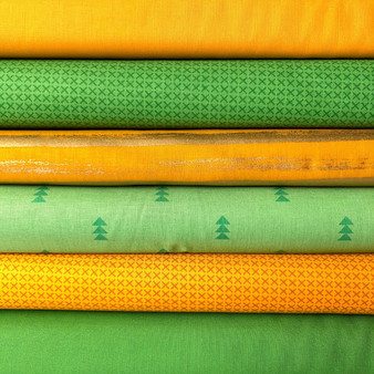 Gold and Green Fat Quarter Bundle - 6 Fabrics