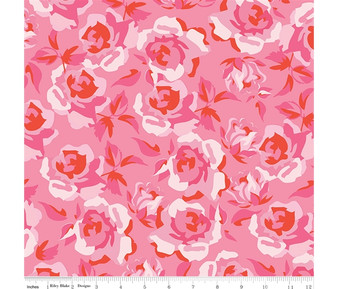 Roses Pink from the Sending Love collection by Riley Blake Designs. 100% Lightweight Cotton