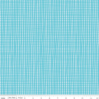 Grid Aqua from the GRL PWR collection by Riley Blake Designs. 100% Lightweight Cotton