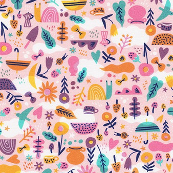 Garden Peach AILD-20167-144 from the Escargot For It! collection designed by Hello!Lucky for Robert Kaufman. 100% Cotton Fabric