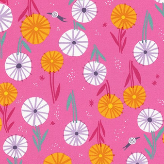 Flowers Candy Pink AILD-20163-351 from the Escargot For It! collection designed by Hello!Lucky for Robert Kaufman. 100% Cotton Fabric