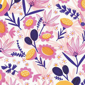 Meadow Blossom AILD-20162-106 from the Escargot For It! collection designed by Hello!Lucky for Robert Kaufman. 100% Cotton Fabric