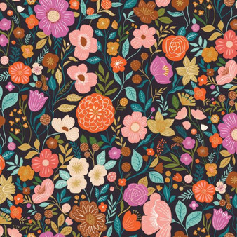 Flowers Black from the Good Vibes collection by Dashwood Studio. 100% Cotton Fabric