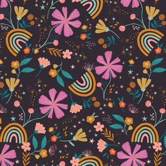 Floral Rainbows from the Good Vibes collection by Dashwood Studio. 100% Cotton Fabric