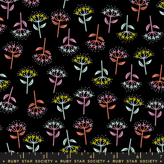 Bloom Black from the Adorn collection by Ruby Star Society. 100% Lightweight Cotton