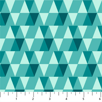Triangles Mint from the Peppermint collection by Figo Fabrics. 100% Cotton Fabric