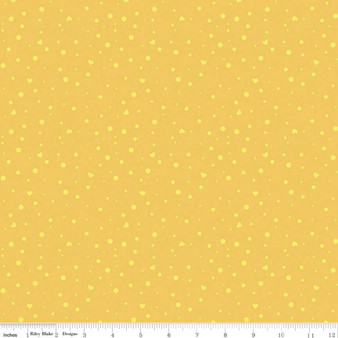 Scatter Love Yellow from the Dream collection by Riley Blake Designs. 100% Lightweight Cotton
