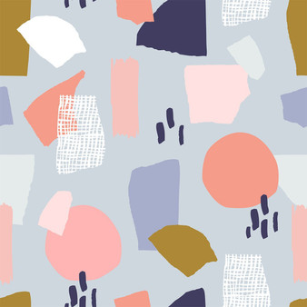 Retro Shapes Muted from the Abstract Collage collection by PBS Fabrics. 100% Cotton Fabric