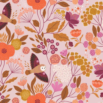 Owls Lilac from the Wild collection by Dashwood Studio. 100% Cotton Fabric