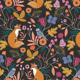 Woodland Black from the Wild collection by Dashwood Studio. 100% Cotton Fabric