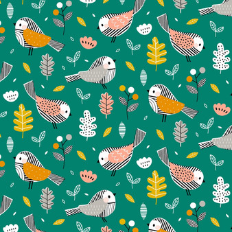 Birds Teal from the Acorn Wood collection by Dashwood Studio. 100% Cotton Fabric