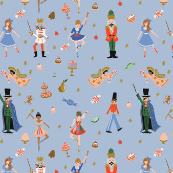 Land of Sweets Powder Blue from the Holiday Classics collection by Rifle Paper Co. 100% Medium Weight Cotton