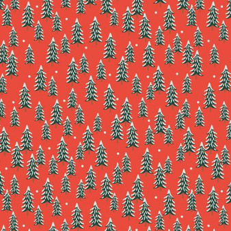 Fir Trees Red from the Holiday Classics collection by Rifle Paper Co. 100% Medium Weight Cotton