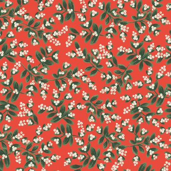 Mistletoe Red from the Holiday Classics collection by Rifle Paper Co. 100% Medium Weight Cotton