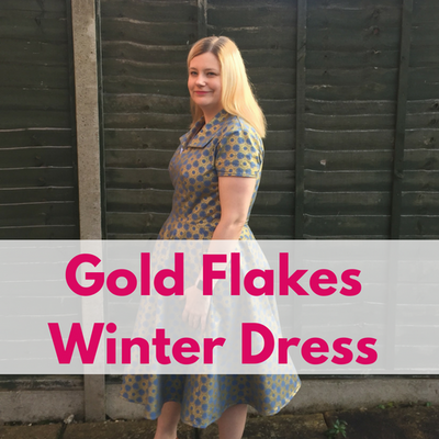 Gold Flakes Blue Winter Dress by Victoria Maus